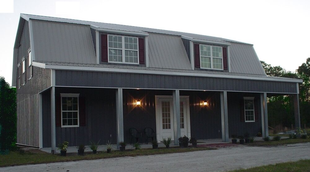 Steel metal home gambrel building shell kit 3500 sq ft ebay for Gambrel roof metal building