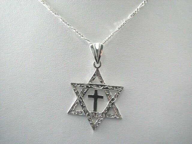 Men 39 s sterling silver messianic star of david cross for Star of david necklace mens jewelry