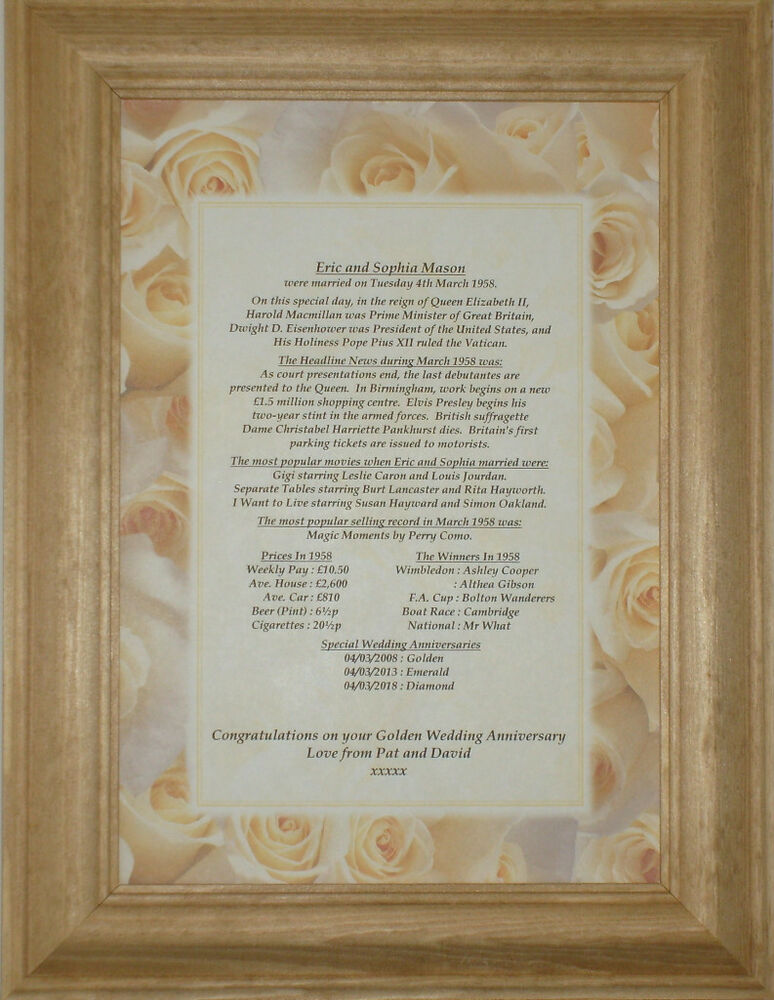 Diamond Wedding Anniversary Gift Ideas Uk : 60th Diamond Personalised Wedding Anniversary Gift eBay