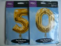 "50th Birthday Large Foil Balloon Numbers {34"" Gold}(AA)"