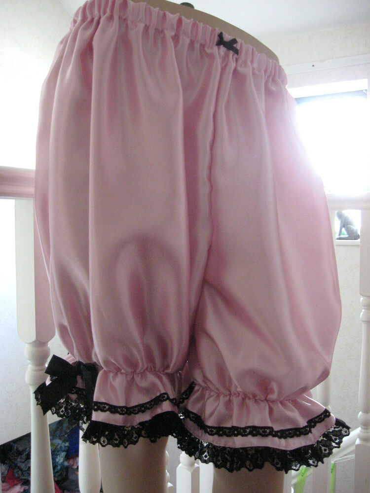 New Baby Pink Black Satin Lace Long Sissy Bloomers