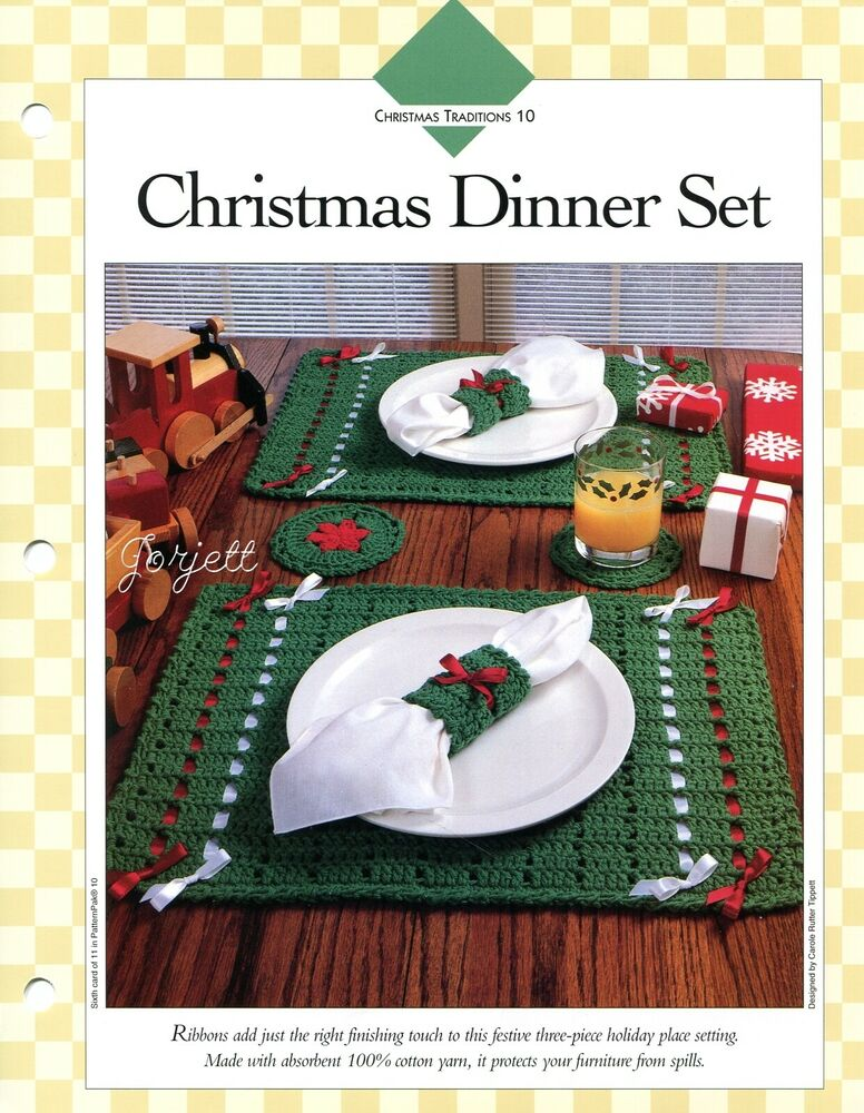 Free Crochet Patterns For Christmas Placemats : Christmas Dinner Set ~ Placemat Coaster Napkin Ring ...