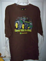 John Deere Tractor There Will Be Mud Brown Long Sleeve Shirt Boys Size XL 18 NWT