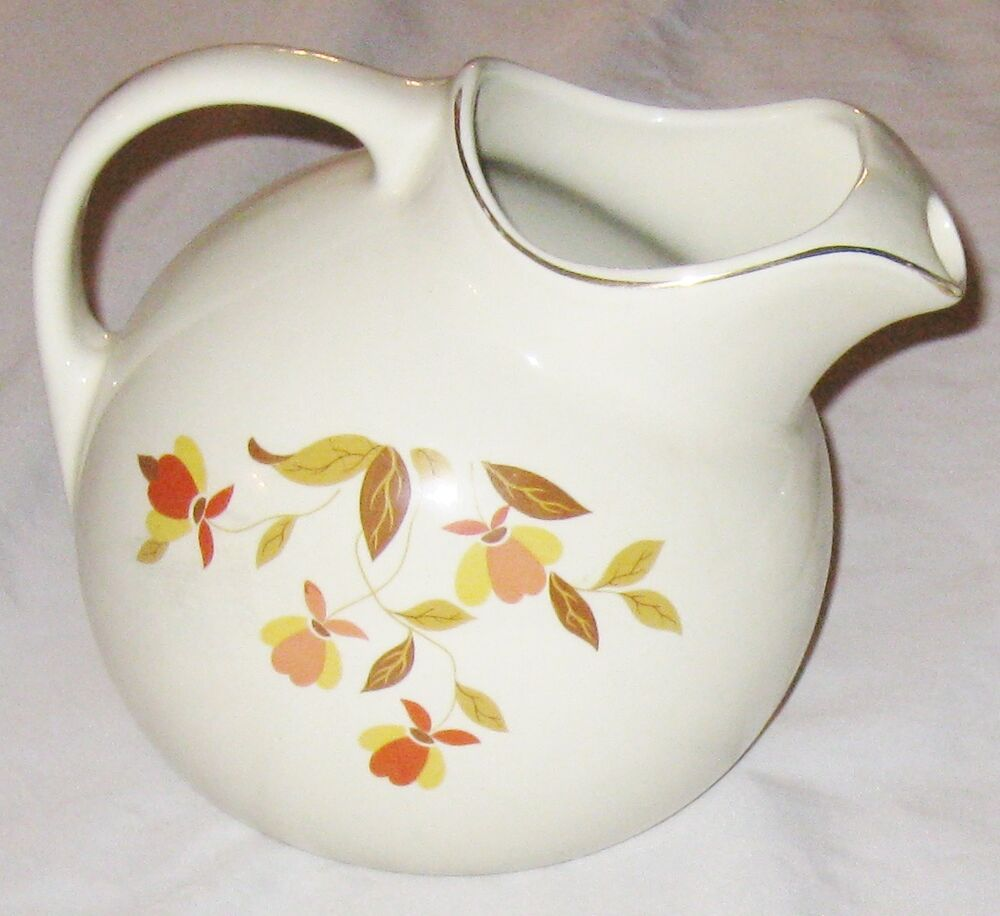 Hall jewel tea autumn leaf china 7 quot pitcher marked ebay