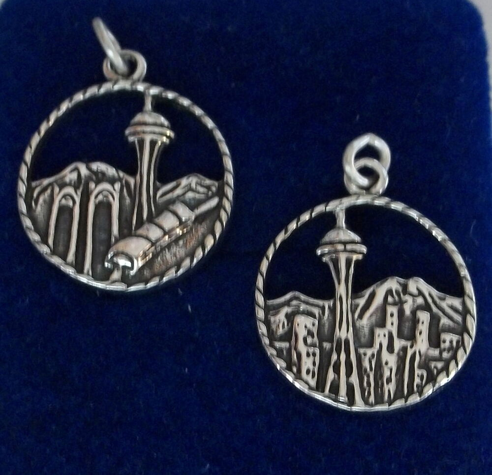 1 sterling silver 22x17mm seattle washington skyline disk for Sell gold jewelry seattle