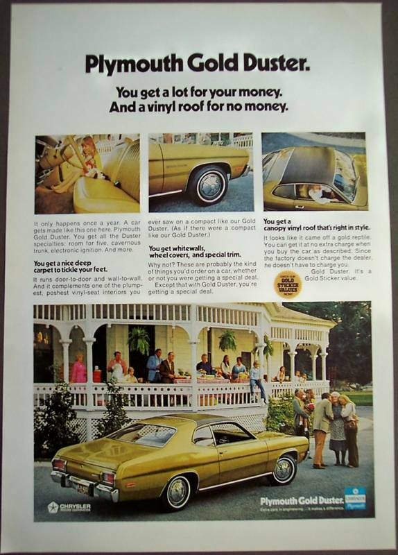 1973 plymouth gold duster 2 door car vintage ad ebay. Black Bedroom Furniture Sets. Home Design Ideas