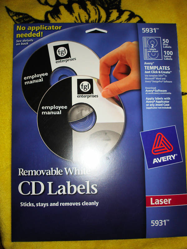 Avery cd labels white 5931 ebay for Avery label template 5931