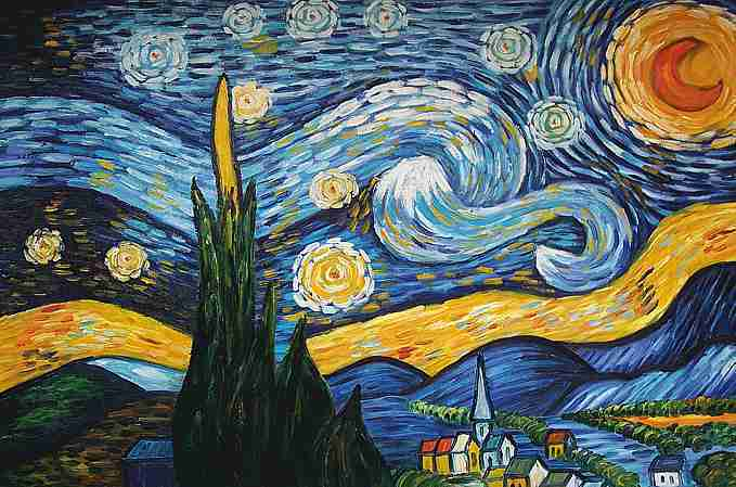 van gogh sternennacht keilrahmenbild auf leinwand ebay. Black Bedroom Furniture Sets. Home Design Ideas