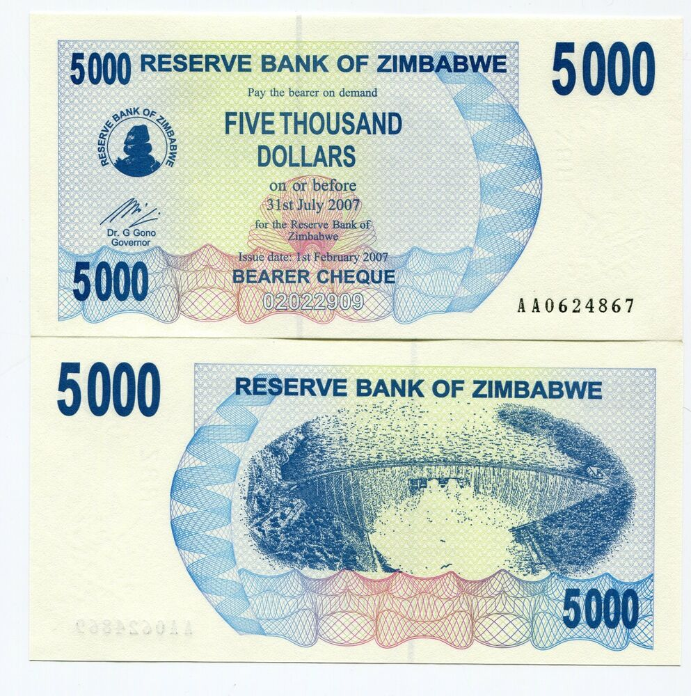 Zimbabwe 2007 rare 5 000 dollars bearer check unc 5000 p for 2000 dollar cabin