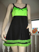 NEW Unique Black UV Green Pink Yellow Frilly Mini Dress Dance Club wear Party