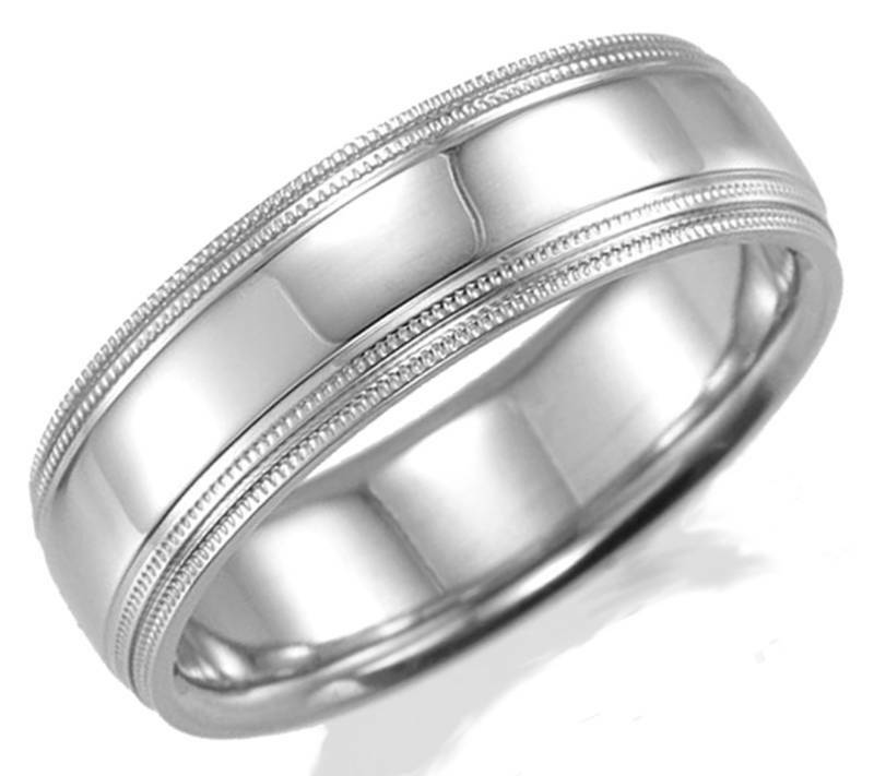 STUNNING NEW MENS 14K WHITE GOLD 7MM WIDE COMFORT FIT WEDDING BAND RING