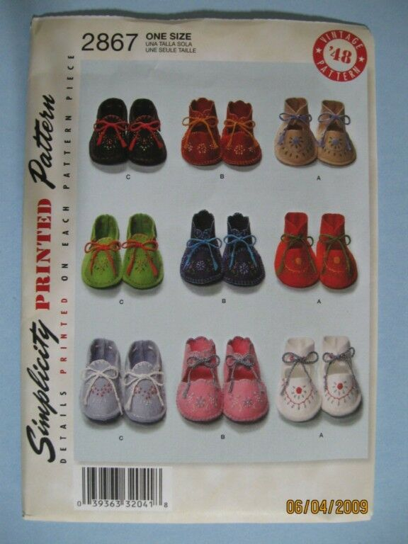 S 2867 Vintage 48 Felt Embroidered Baby Shoes Pattern Ebay
