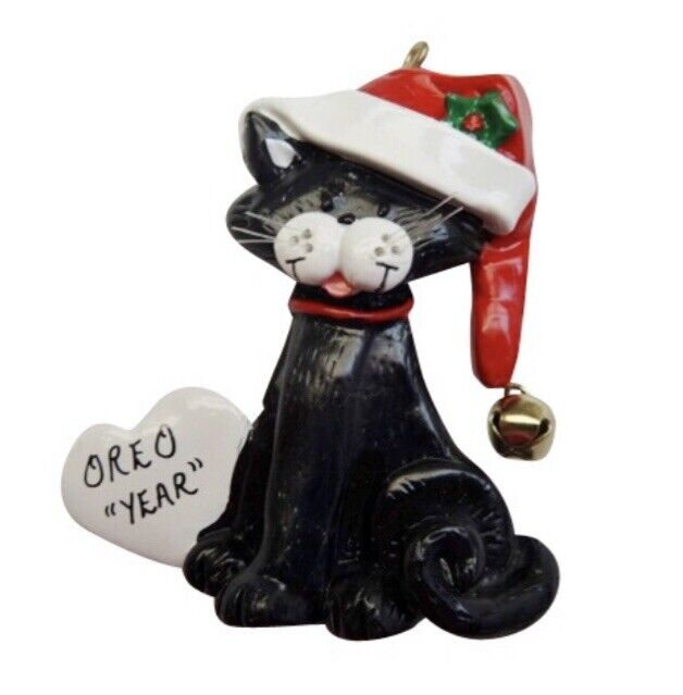 Personalized cat w heart christmas ornament ebay for Cat christmas ornaments craft