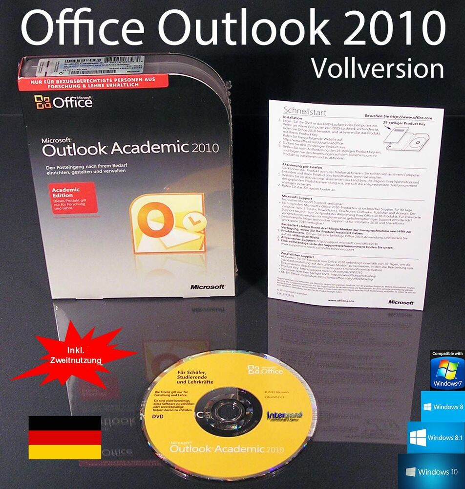 microsoft office outlook 2010 vollversion box cd edu. Black Bedroom Furniture Sets. Home Design Ideas