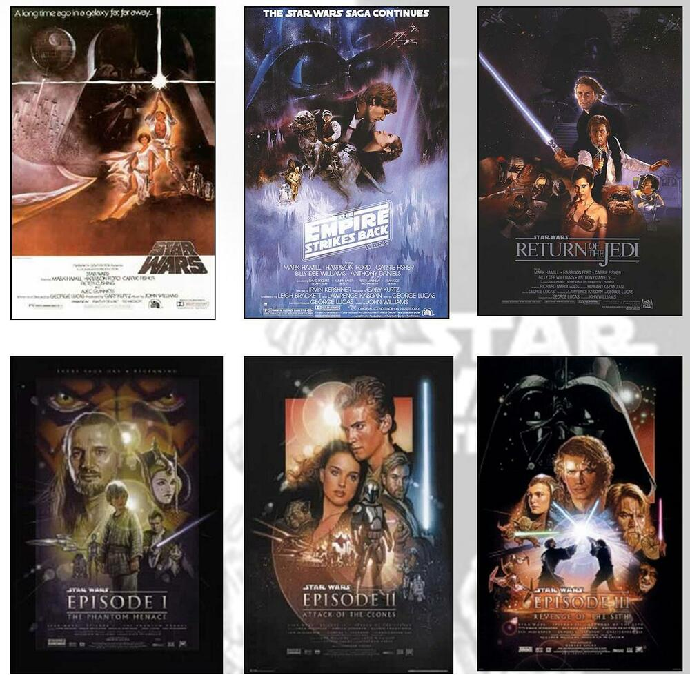 star wars deluxe poster set all 6 movie posters ebay. Black Bedroom Furniture Sets. Home Design Ideas