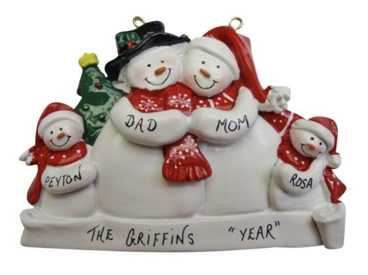 Personalized snowman family of 4 christmas ornament ebay for Family of 4 christmas ornament