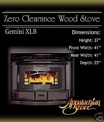 Appalachian GEMINI XLB Wood Burning Stove Fireplace | eBay