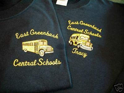 Personalized school bus t shirt embroidered black ebay for Custom school t shirts