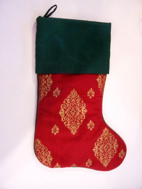 Red Green Gold Christmas Stocking Decoration Ebay