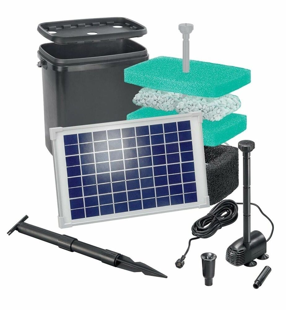 20 w solar teichpumpe solarpumpe pumpenset gartenpumpe gartenteichpumpe pumpe ebay. Black Bedroom Furniture Sets. Home Design Ideas