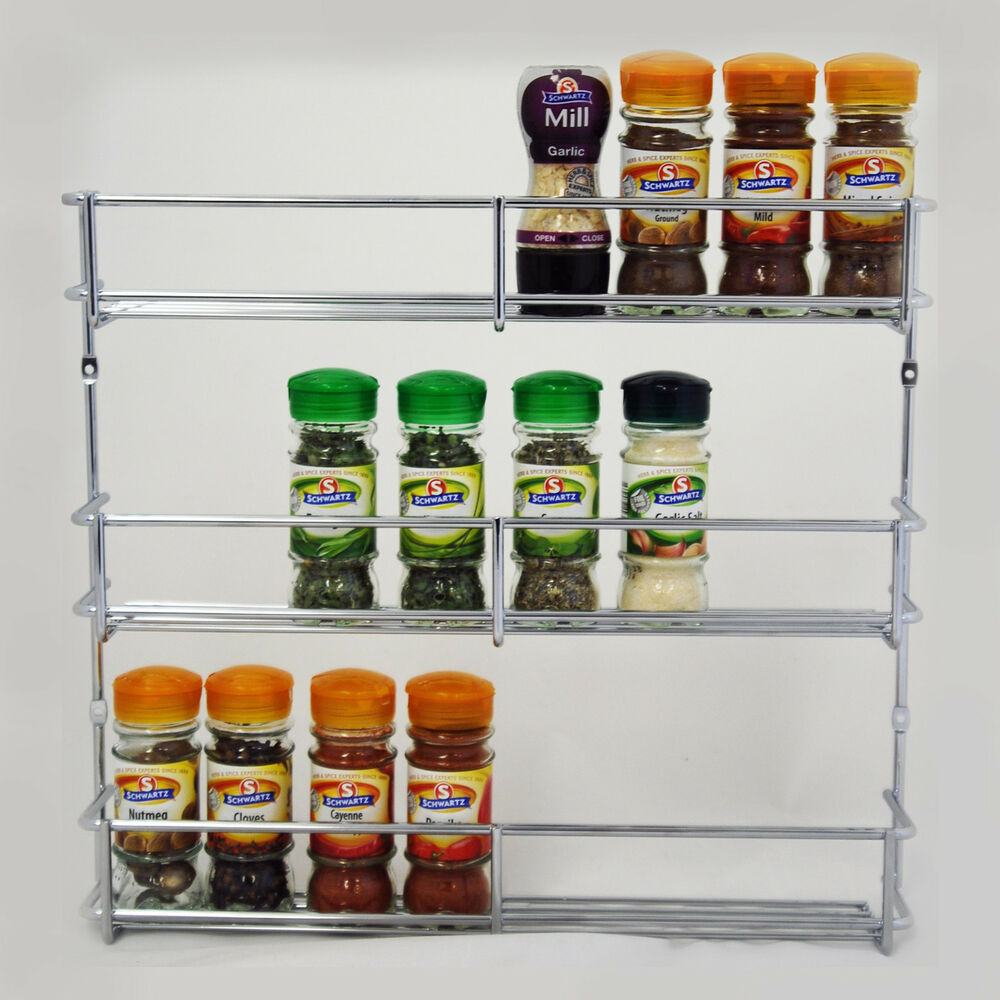 tiered spice racks for kitchen cabinets spice rack 400mm chrome 3 tier kitchen cabinet storage ebay 9463