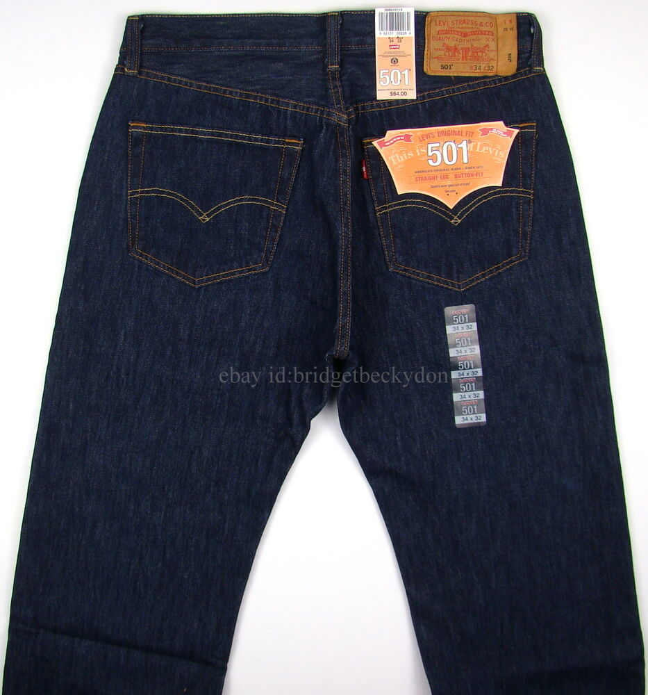 nwt new mens levis 501 jeans rinsed indigo many sizes ebay. Black Bedroom Furniture Sets. Home Design Ideas