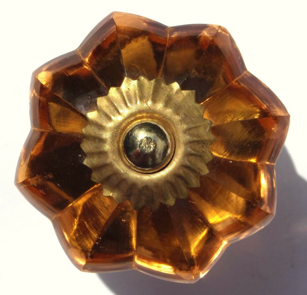 Drawer Cupboard Knobs Cabinet Handles Amber Flower Shaped