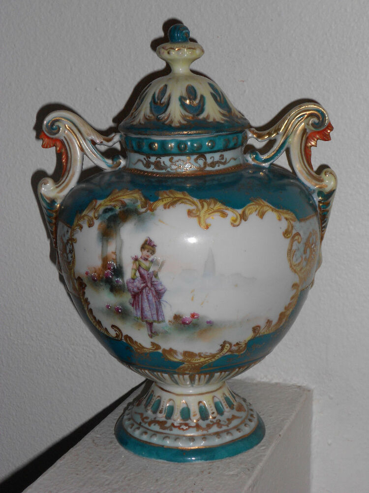 Early nippon hand painted portrait porcelain coverd urn ebay for Hand painted portraits from photos