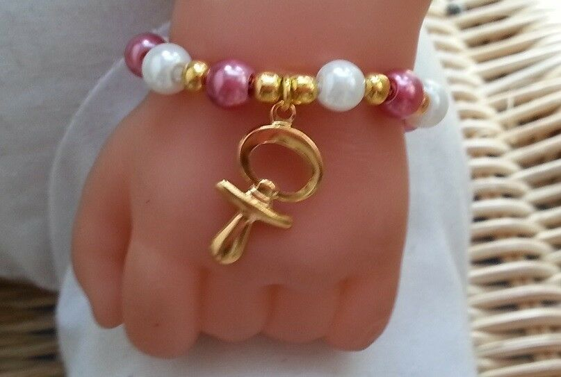 Baby Girls Bracelet With Gold Dummy Charm All Sizes Ebay