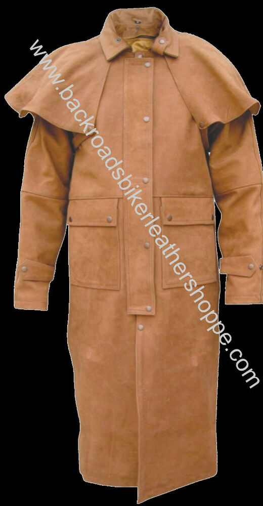 Mens Brown Leather Biker Duster Trench Coat Jacket Ebay