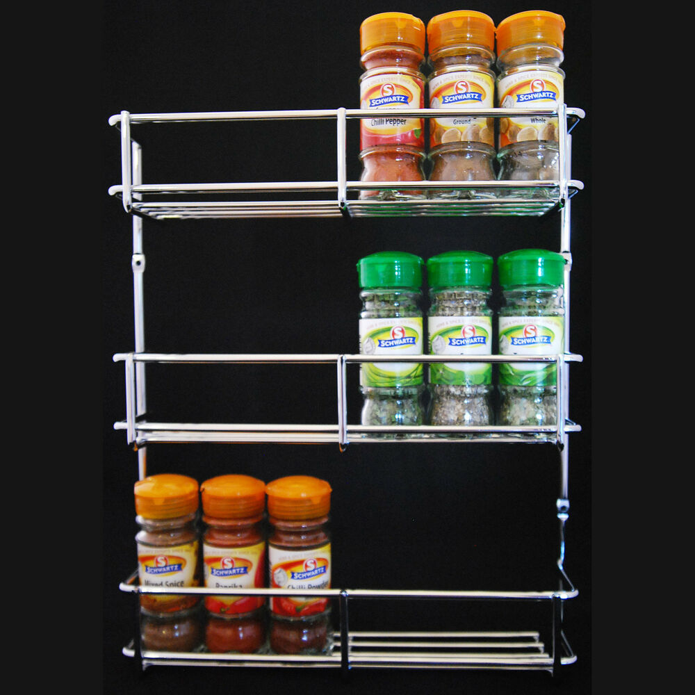 SPICE RACK HERB JAR HOLDER 300MM CHROME 3 TIER KITCHEN