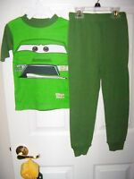 Disney Pixar Cars Green Long Pajama PJ 2 Piece Set Boys Size 4 NWT #118