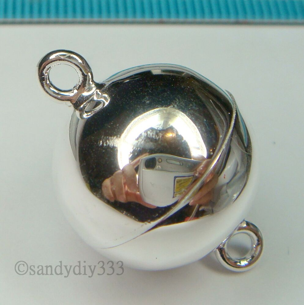 1x Sterling Silver Bright Ball Round Magnetic Clasp 16mm