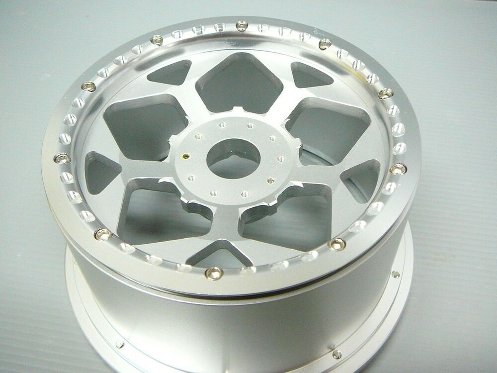 2X REAR SILVER CNC ALLOY WHEEL RIMS HPI BAJA 5B TIRES