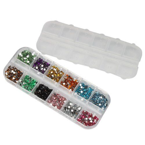 3000 NAIL ART GEMS CASE RHINESTONES ROUND DIAMANTE CRYSTAL