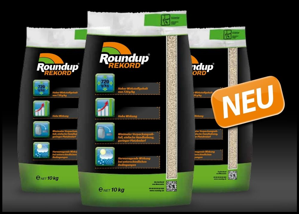 monsanto roundup rekord 10 kg unkraut ungras quecke 720g. Black Bedroom Furniture Sets. Home Design Ideas