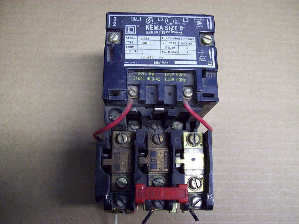 Square D Size 0 Contactor Class 8536 Type S80