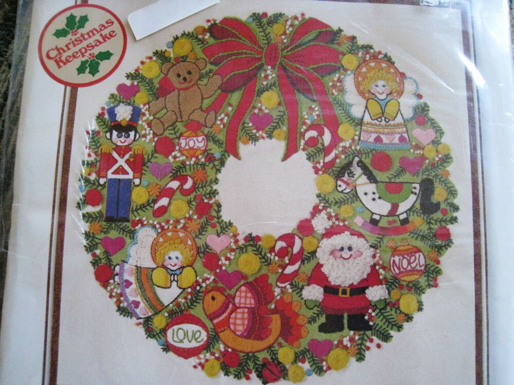Crewel sunset stitchery embroidery kit christmas wreath