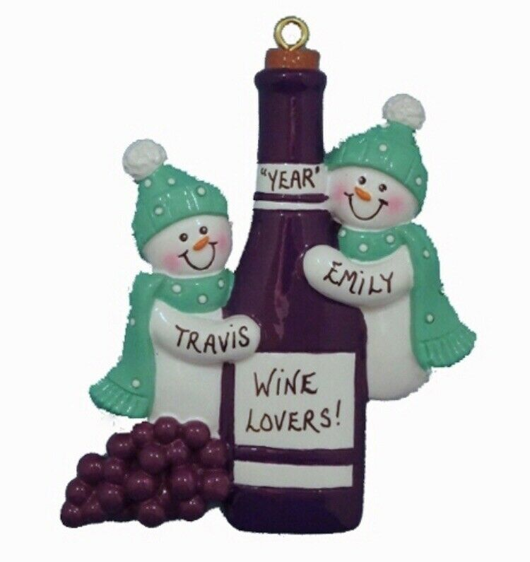 Personalized snowman with wine bottle christmas ornament for Wine bottle christmas tree frame for sale