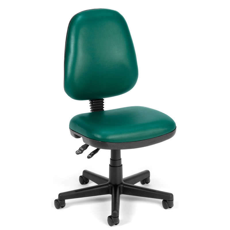 Armless green vinyl ergonomic posture task office desk for Armless office chairs