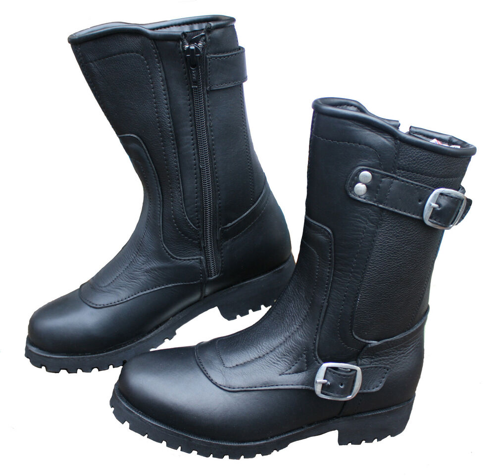 Black Leather Motorcycle Shoes