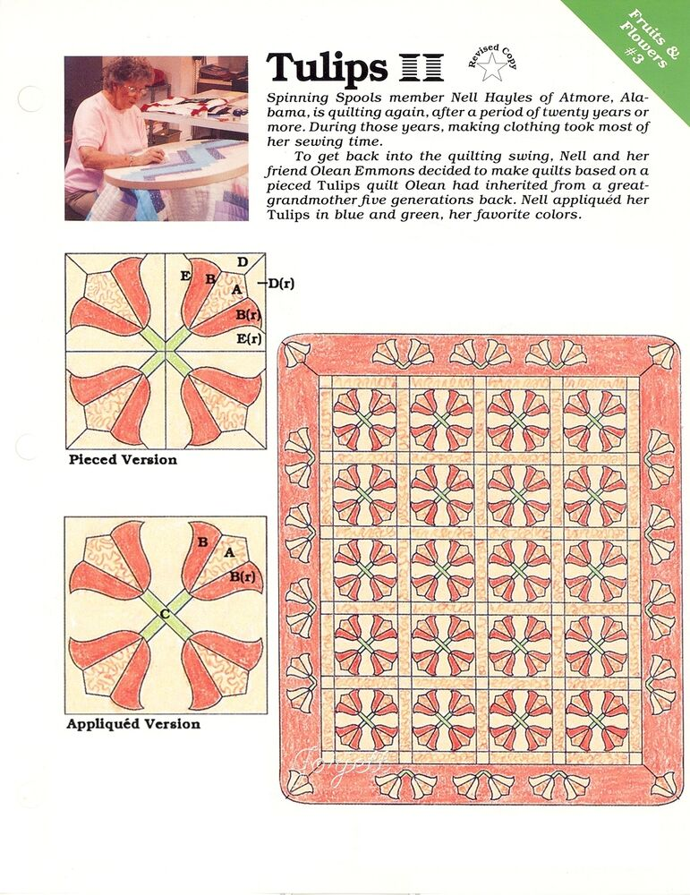 tulips quilt block amp quilt sewing pattern amp templates ebay