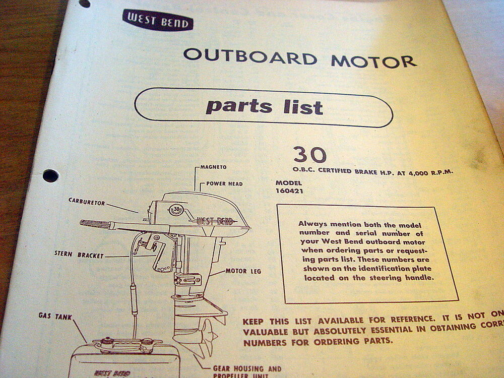 West Bend 30 Hp 30hp Outboard Motor Parts Manual Catalog