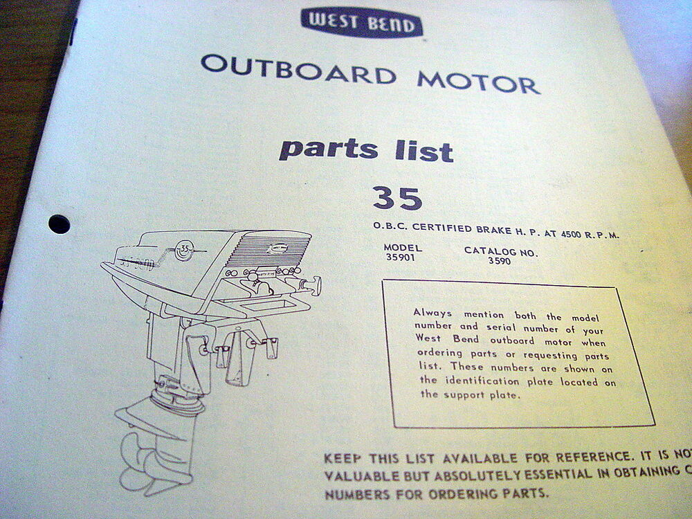 West Bend 35 Hp 35hp Outboard Motor Parts Manual Catalog