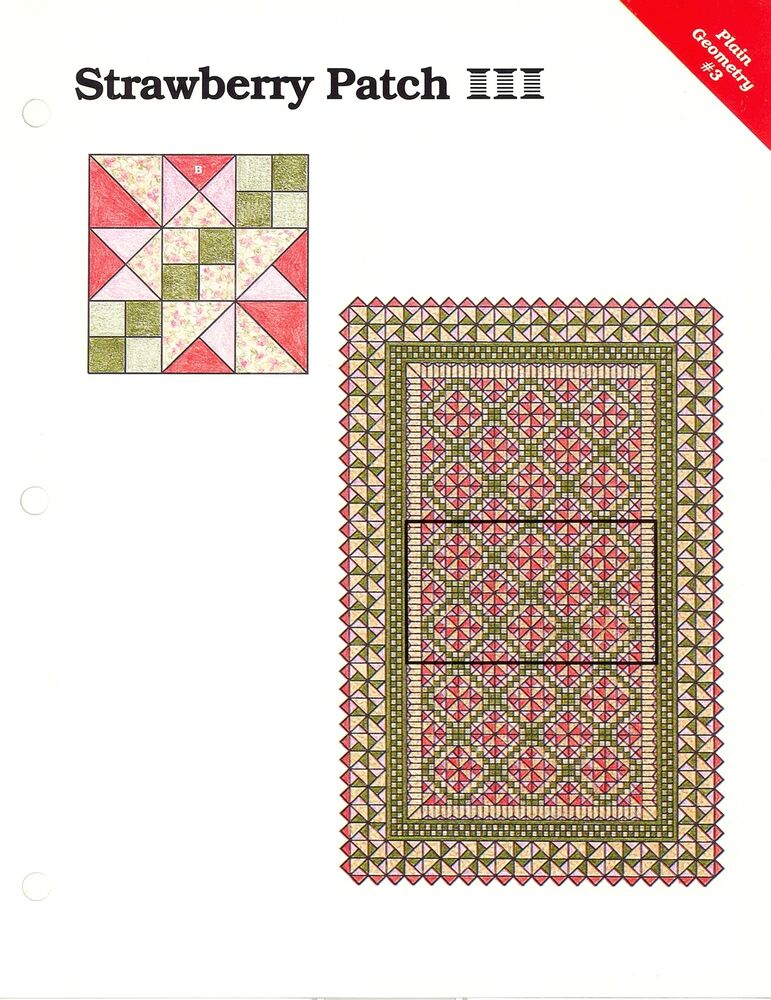 strawberry patch quilt block quilt sewing pattern templates ebay. Black Bedroom Furniture Sets. Home Design Ideas