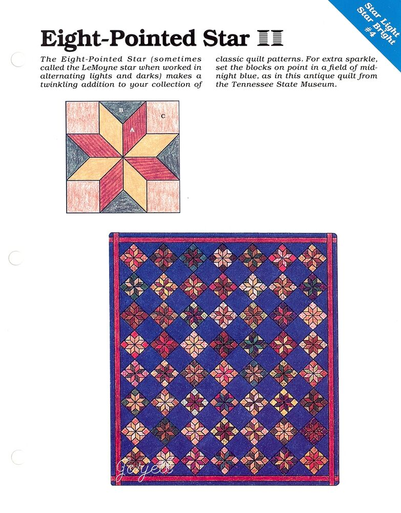 Free Quilt Pattern For 8 Point Star : Eight-Pointed Star ~ Quilt & Block, Spinning Spools quilt pattern & templates eBay