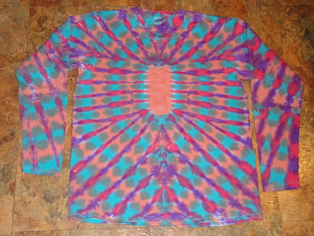 Tie Dye Dyed Womens Long Sleeve Hippie T Shirt Top Small S
