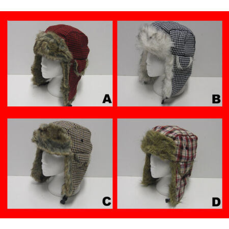 img-Unisex Faux Fur Ear Flaps Russian Check Dog Tooth Print Padded Trapper Hat Cap
