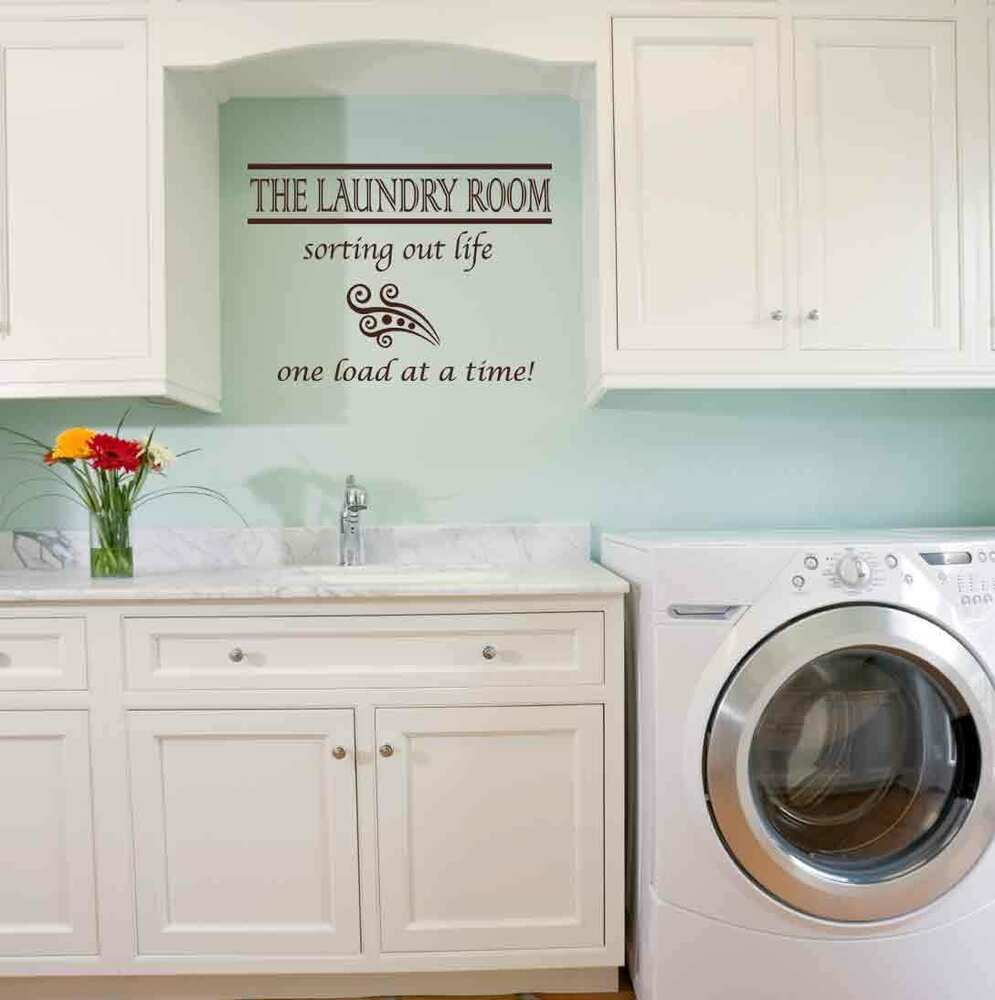 Laundry room quote wall decal sticker highest quality big or small ebay - Laundry rooms for small spaces decoration ...