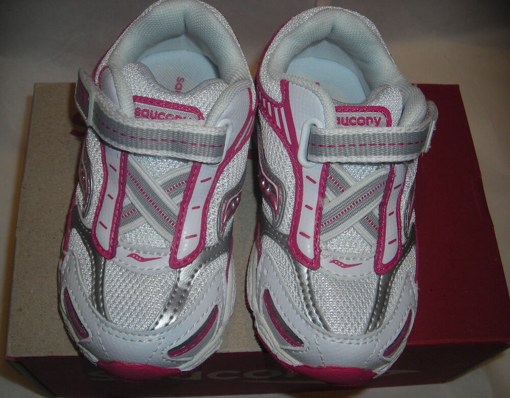 Saucony Baby Ride Girls Hot Pink White Leather Tennis